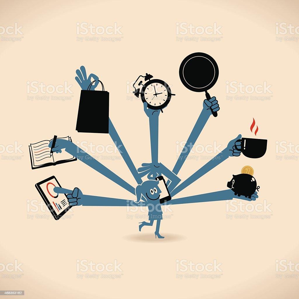 Smiling business women with multi tasking and skills vector art illustration