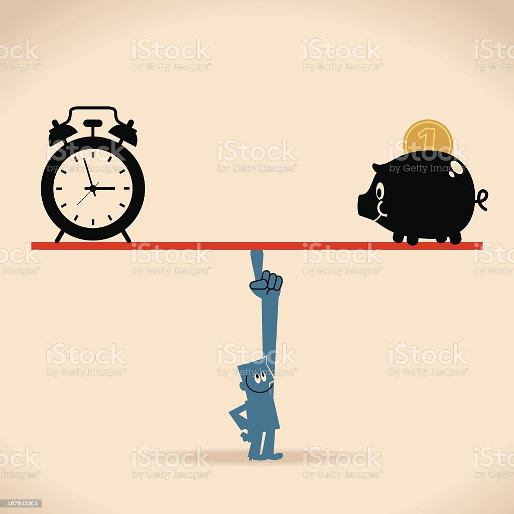 Smiling businessman balance a seesaw with clock and piggy bank vector art illustration