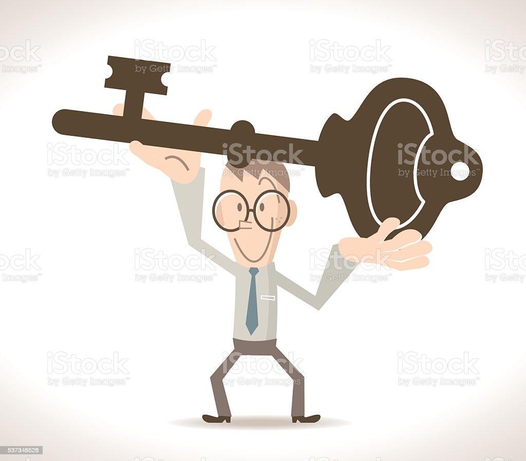 Smiling businessman holding a big key, arm raised vector art illustration