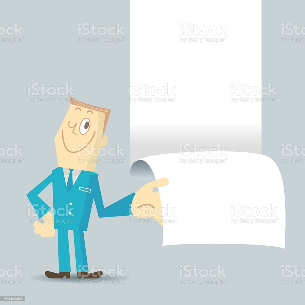 Smiling businessman (detective) ripping paper and showing some message vector art illustration