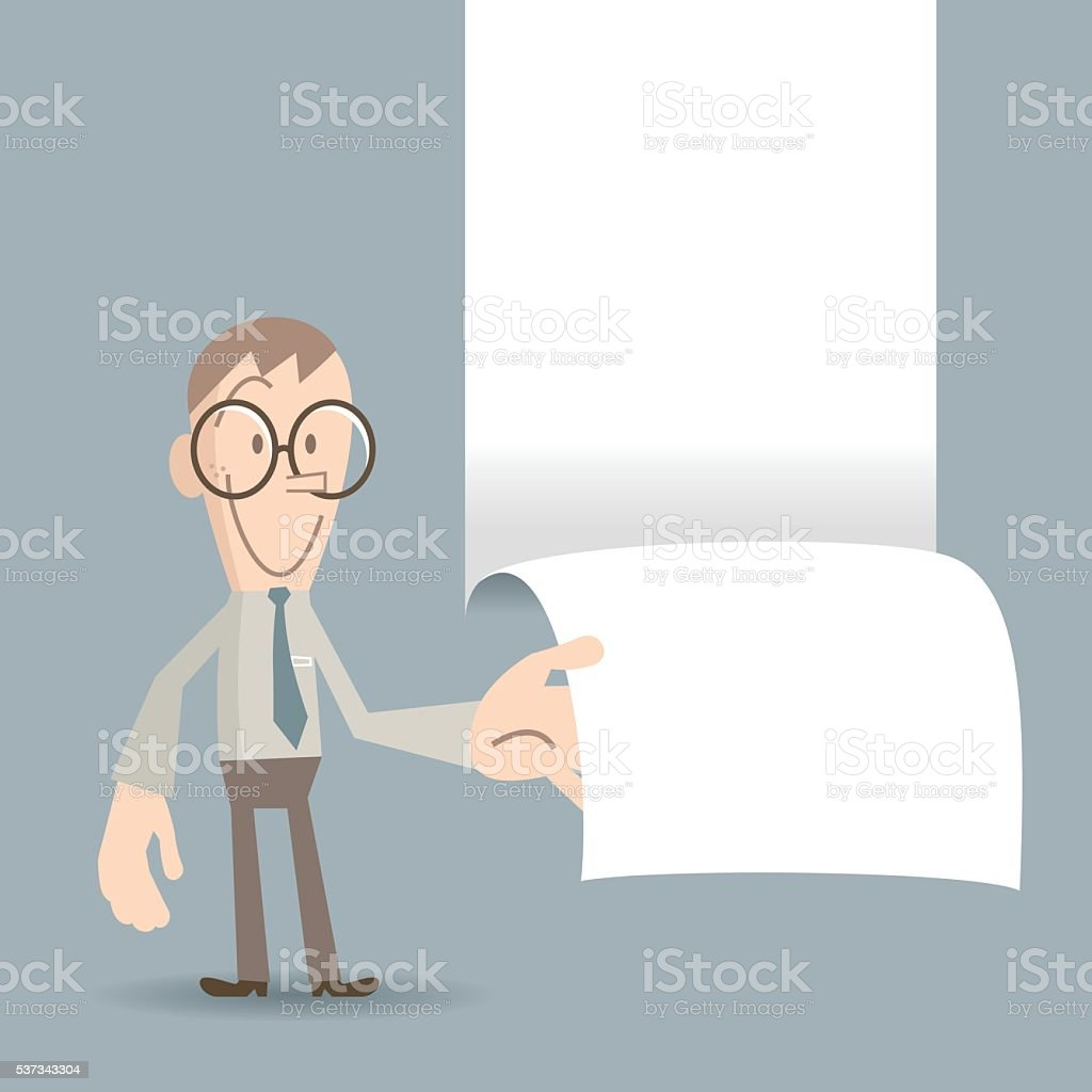 Smiling businessman ripping the paper and showing some message vector art illustration