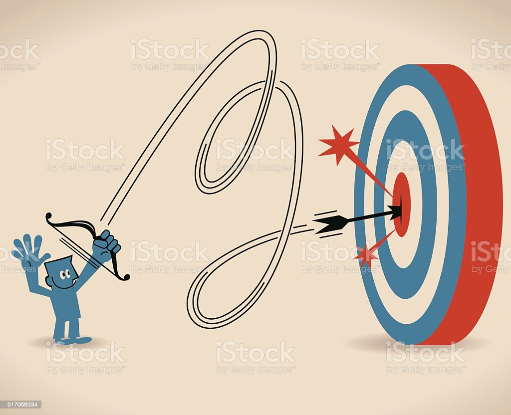 Smiling businessman shooting at big target with bow and arrow vector art illustration