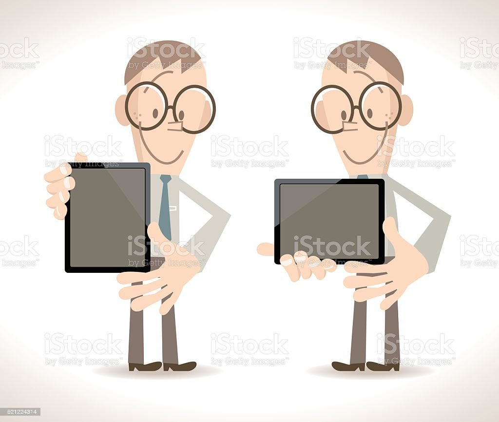 Smiling businessman standing holding an blank tablet PC (touch pad) vector art illustration