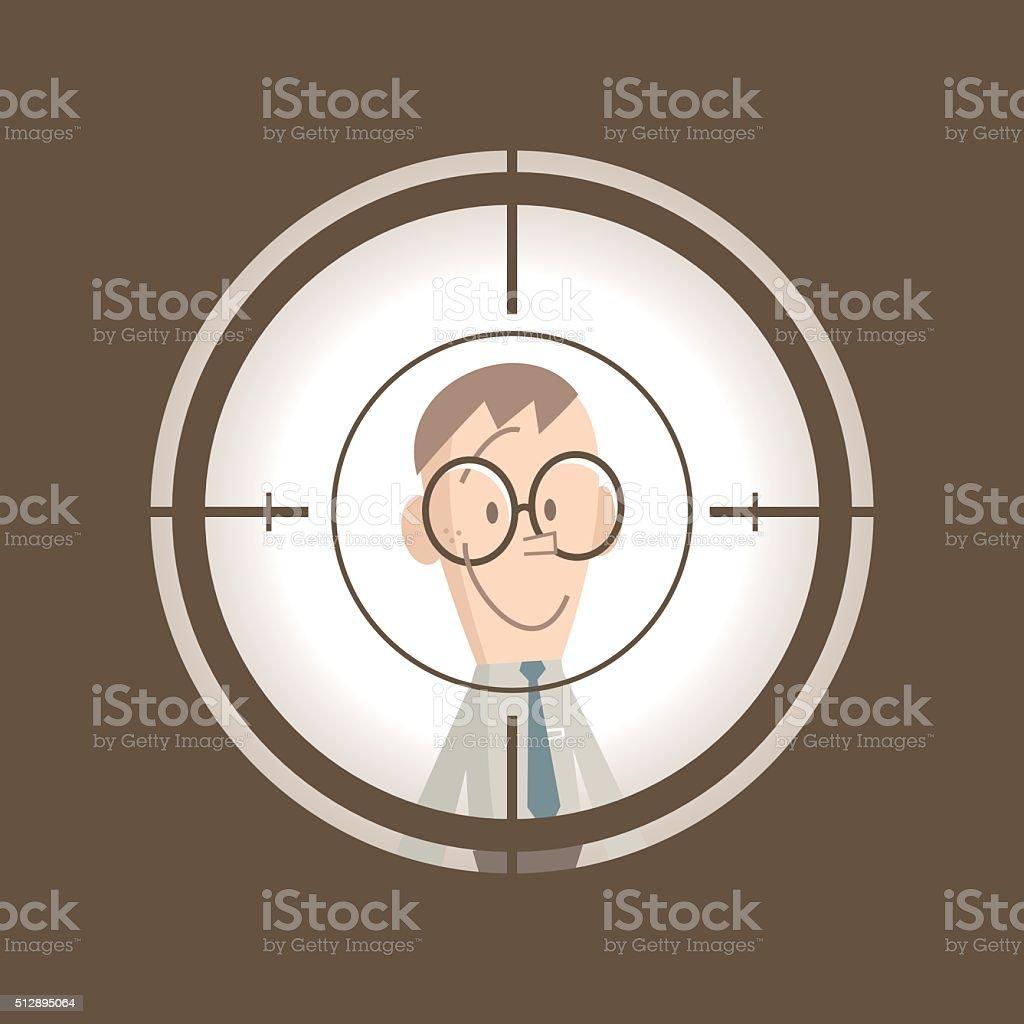 Smiling businessman standing in the crosshairs center rifle (gun) sight vector art illustration