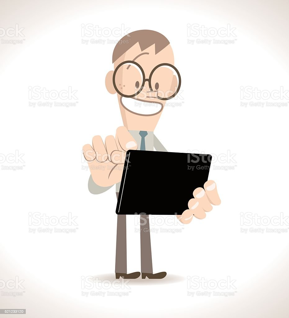 Smiling businessman standing using an blank tablet PC (touch pad) vector art illustration