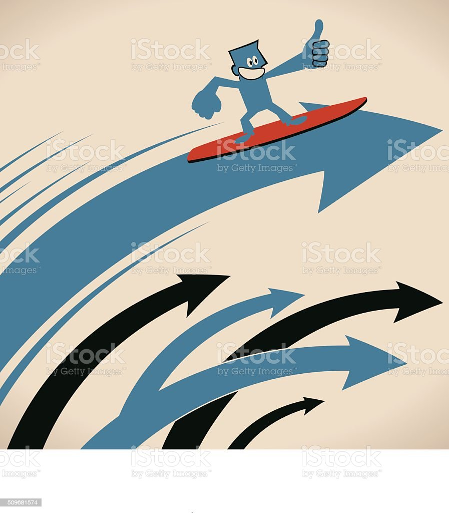 Smiling businessman surfing on arrow wave with thumbs up gesturing vector art illustration