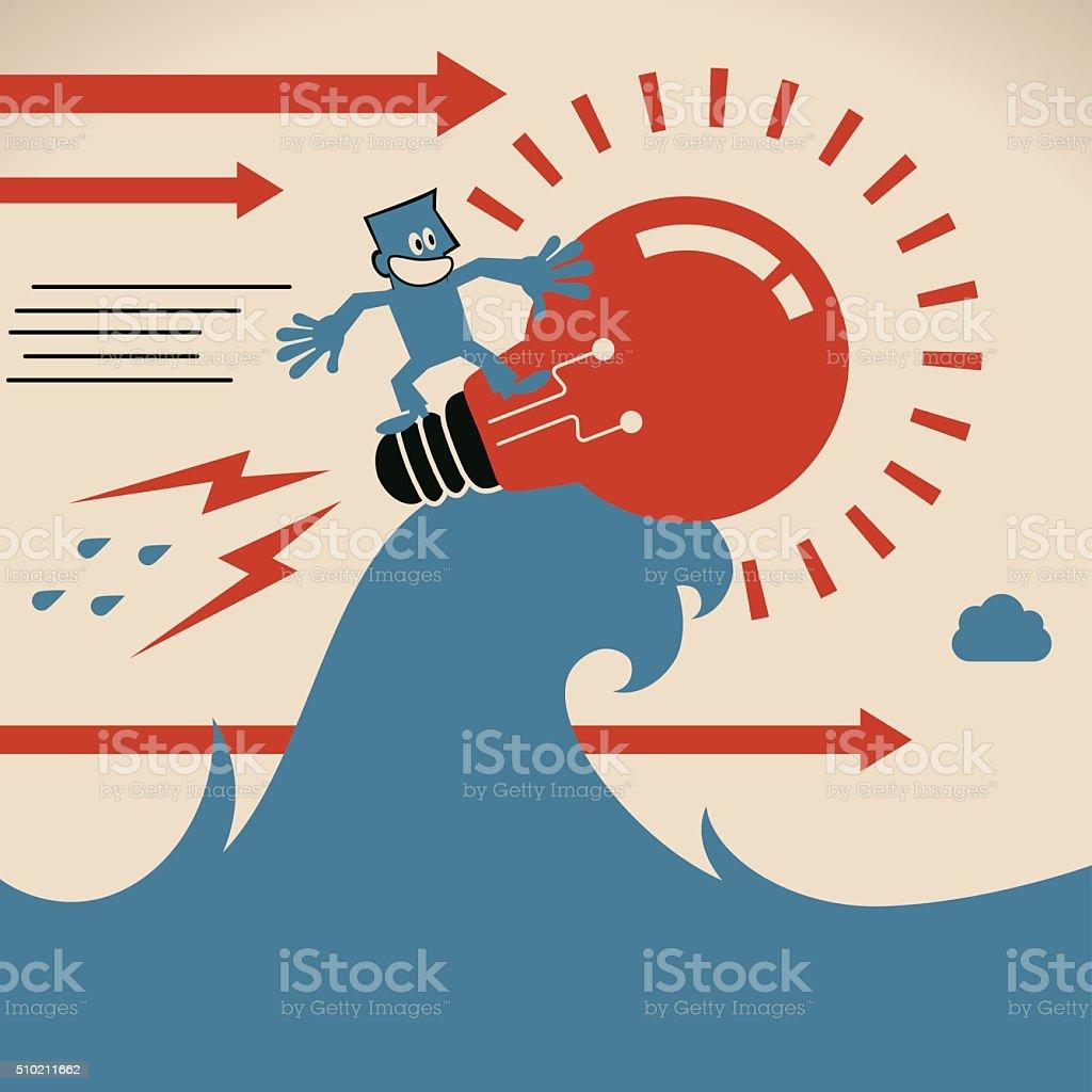 Smiling businessman surfing on sea wave with idea light bulb vector art illustration