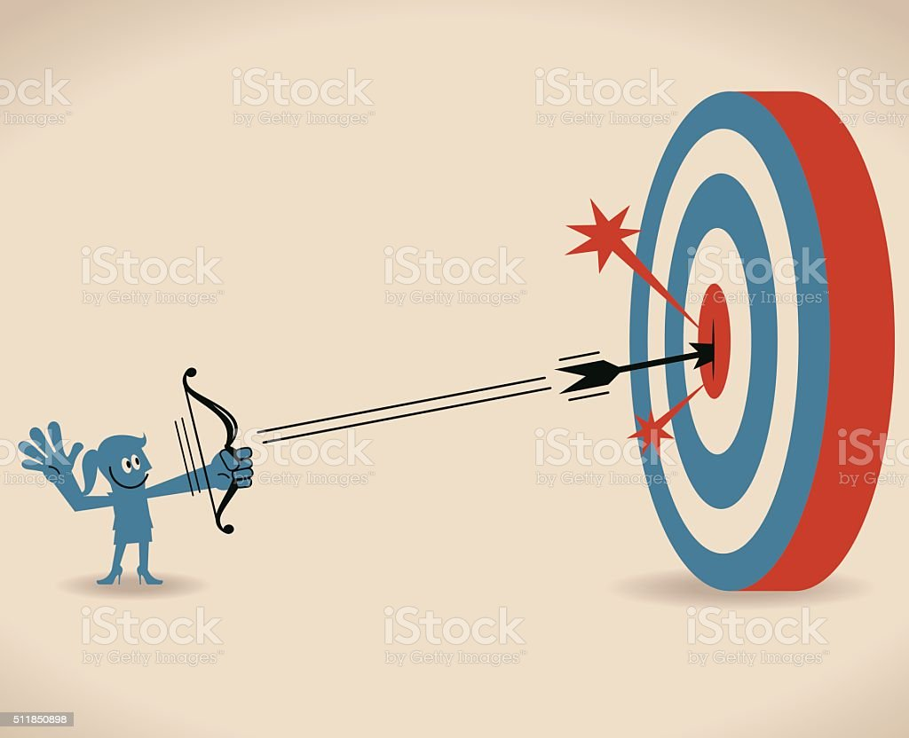 Smiling businesswoman shooting at big target with bow and arrow vector art illustration
