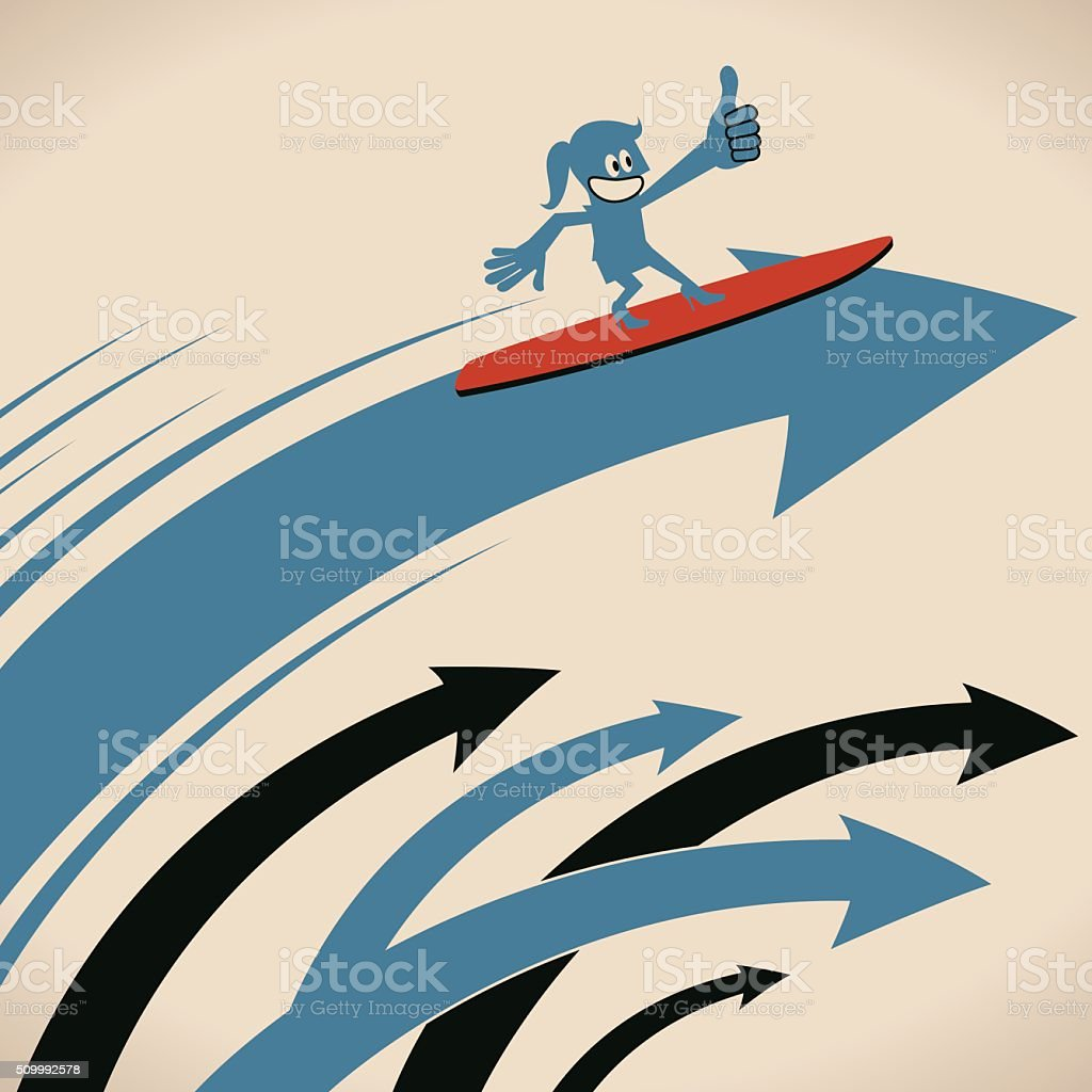 Smiling businesswoman surfing on arrow waves with thumbs up gesturing vector art illustration