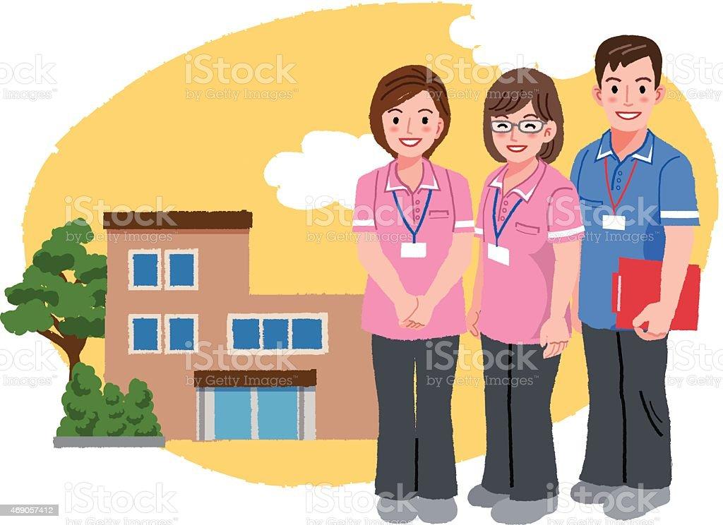 Smiling caregivers in pink uniform and nursing house vector art illustration