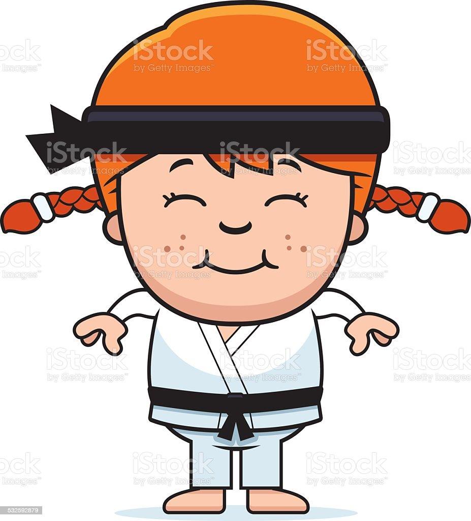 Smiling Cartoon Karate Kid vector art illustration