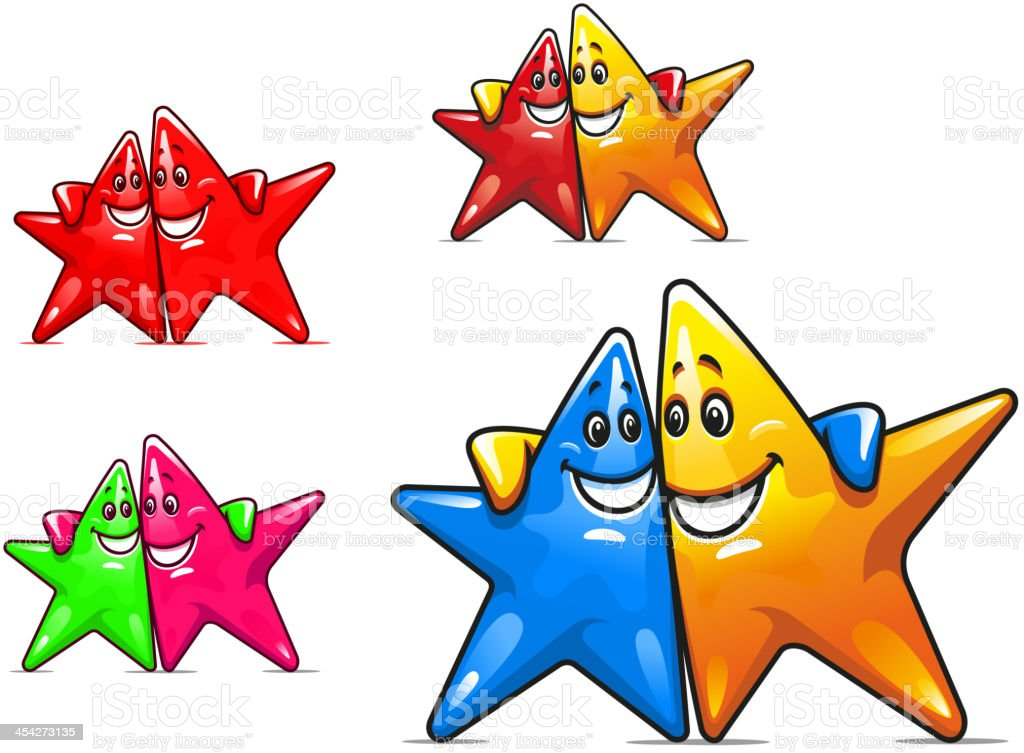 Smiling cartoon stars royalty-free stock vector art