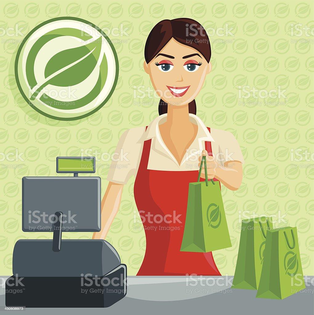 Smiling Cashier Girl at Eco Green Store vector art illustration