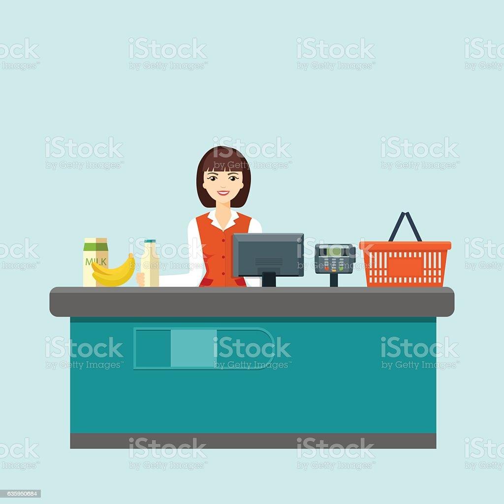 Smiling cashier sits behind the cash register. Flat vector illustration vector art illustration