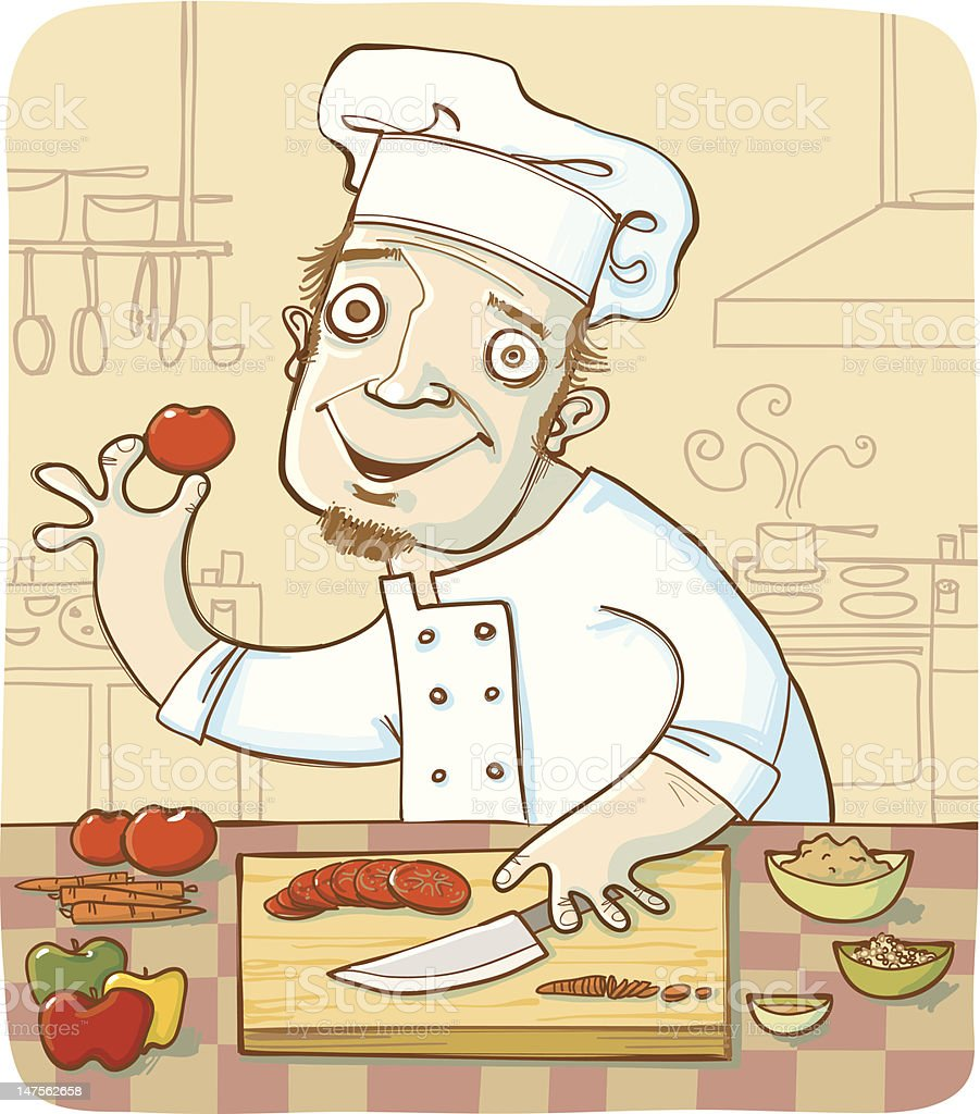 Smiling Chef in Kitchen Chopping Vegetables on Cutting Board vector art illustration