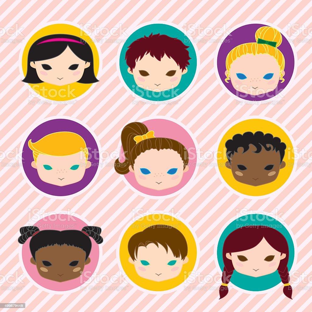 Smiling Children Icons vector art illustration
