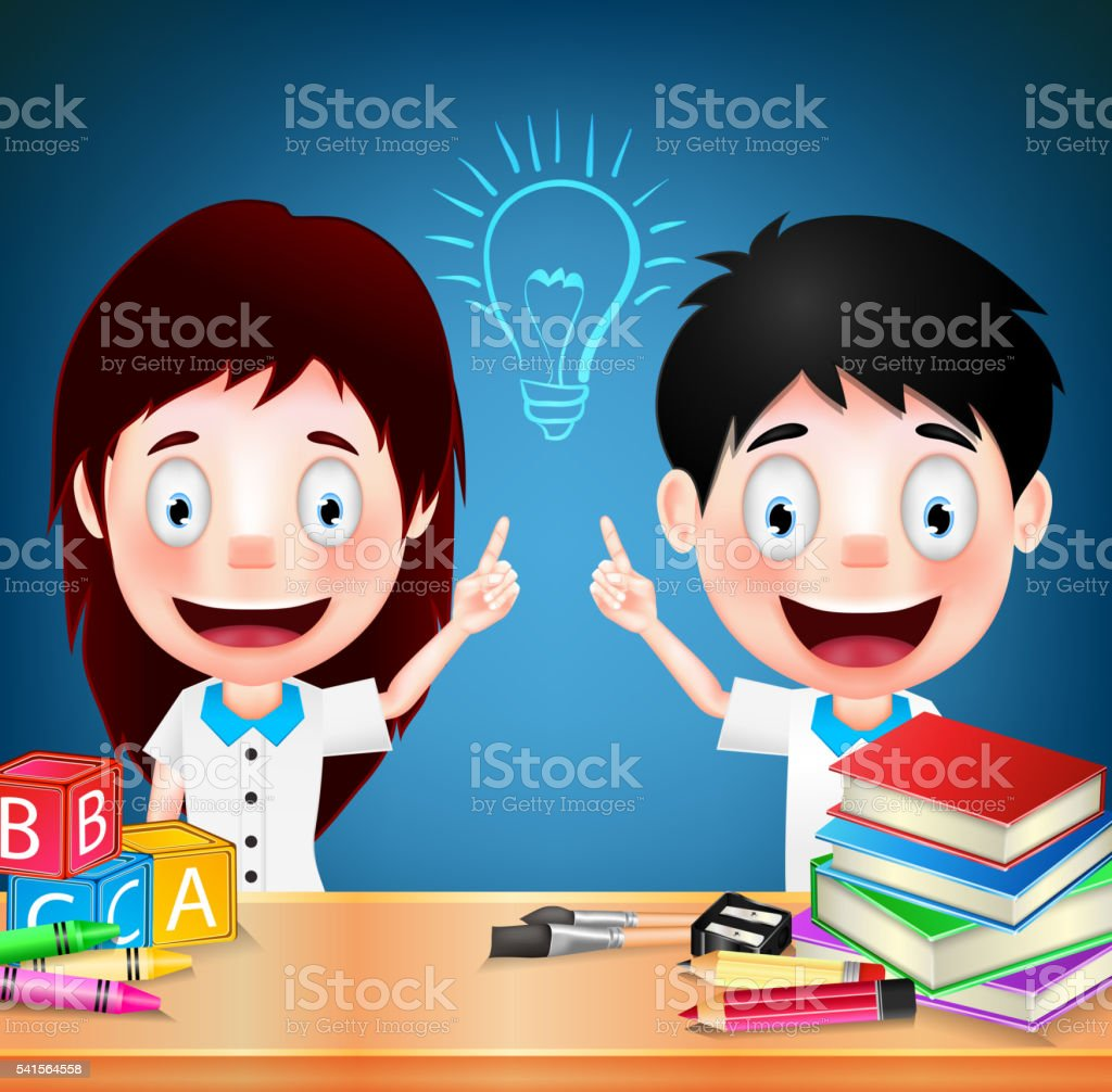 Smiling Children Student Characters with Idea on Blue Background vector art illustration