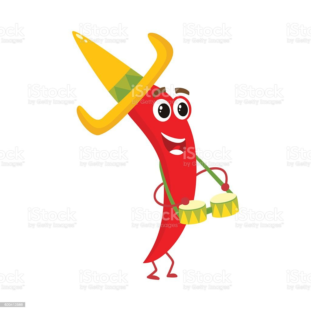 Smiling chili pepper in Mexican sombrero playing bongo drums vector art illustration