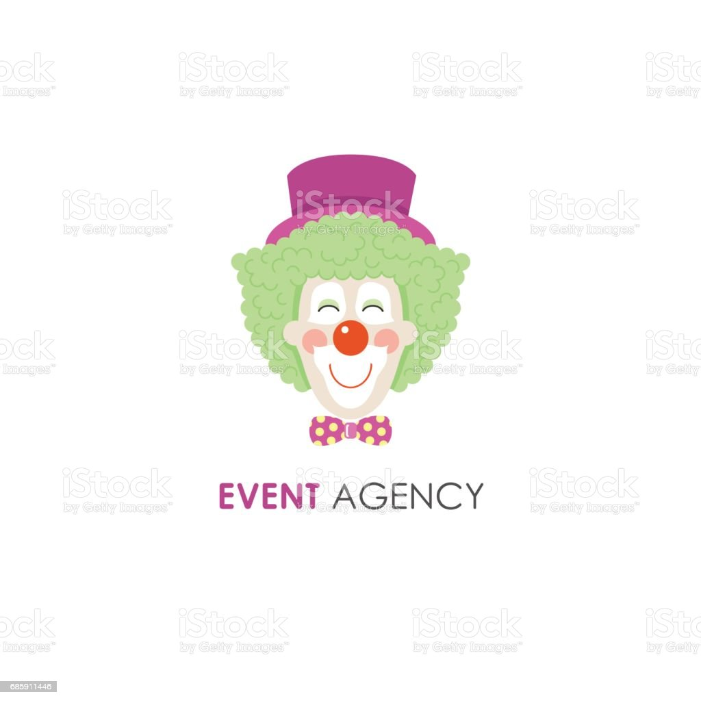 smiling clown face line design template のイラスト素材 685911446