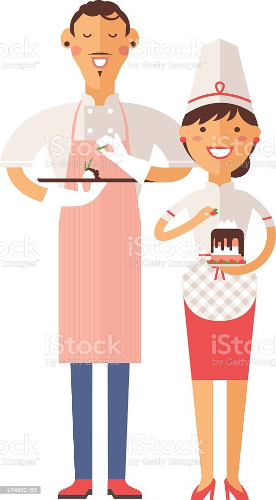 Smiling confectioners holding plate with cake vector art illustration