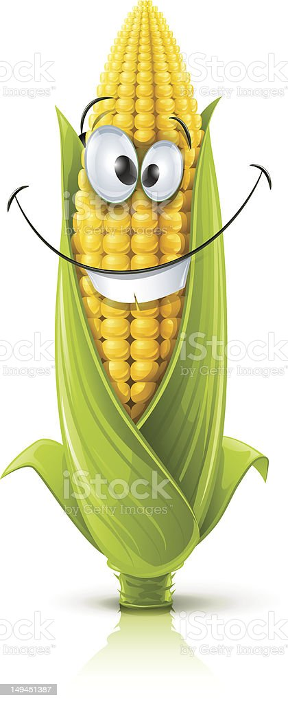 smiling corncob vector art illustration