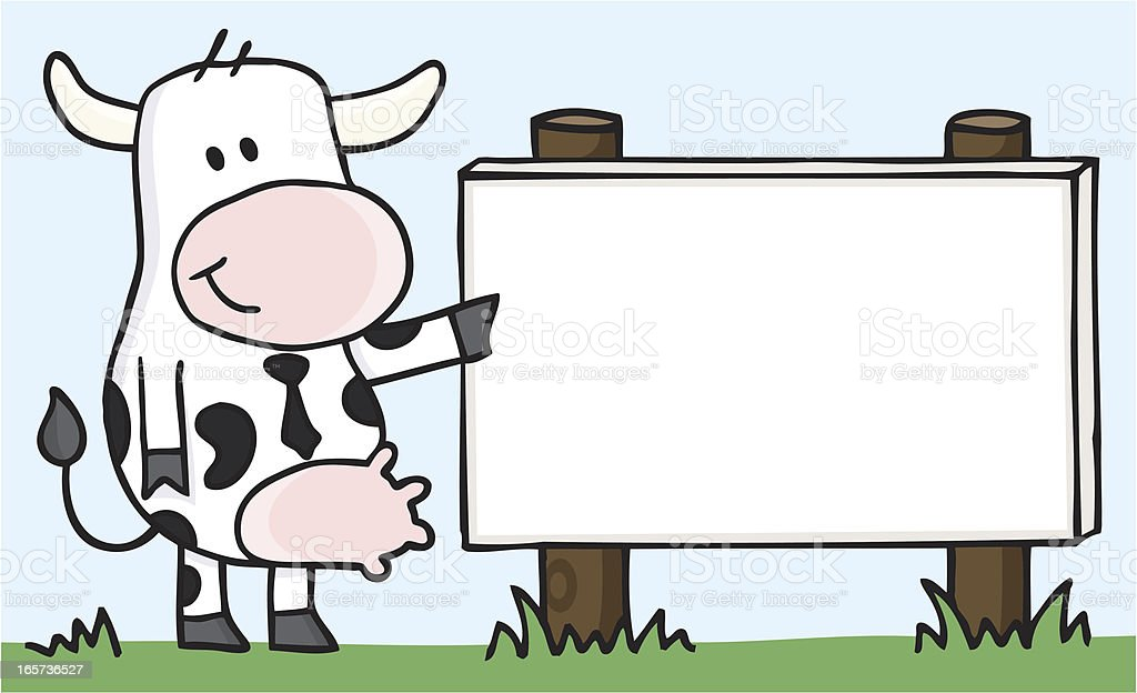 smiling cow pointing on a blank sign vector art illustration