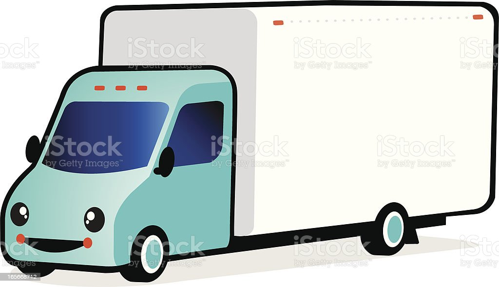 smiling delivery truck royalty-free stock vector art