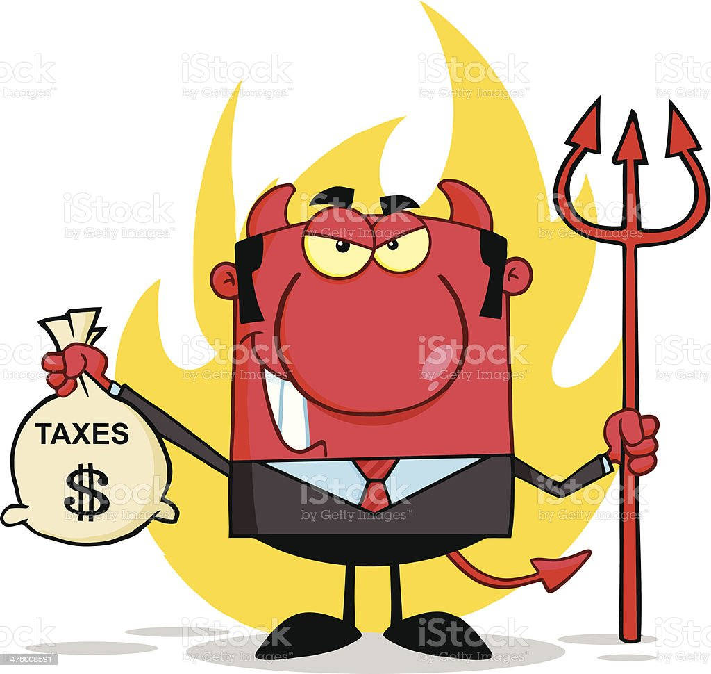 Smiling Devil With A Trident And Holding Taxes Bag royalty-free stock vector art