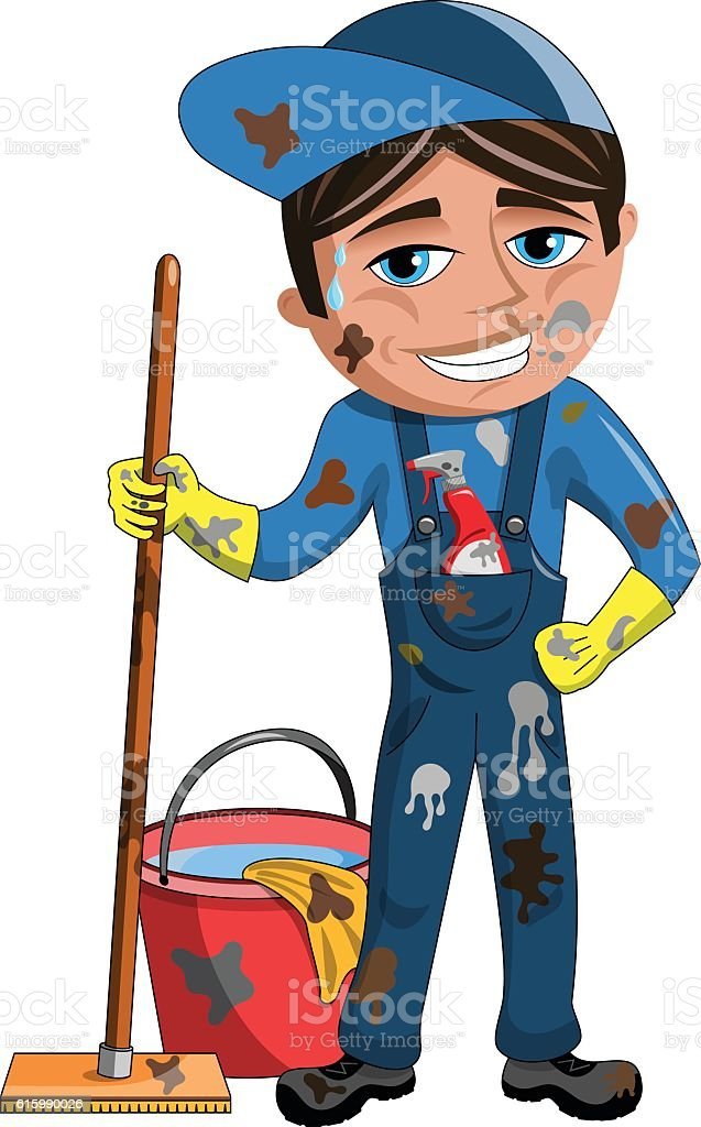 Smiling dirty Cleaner vector art illustration