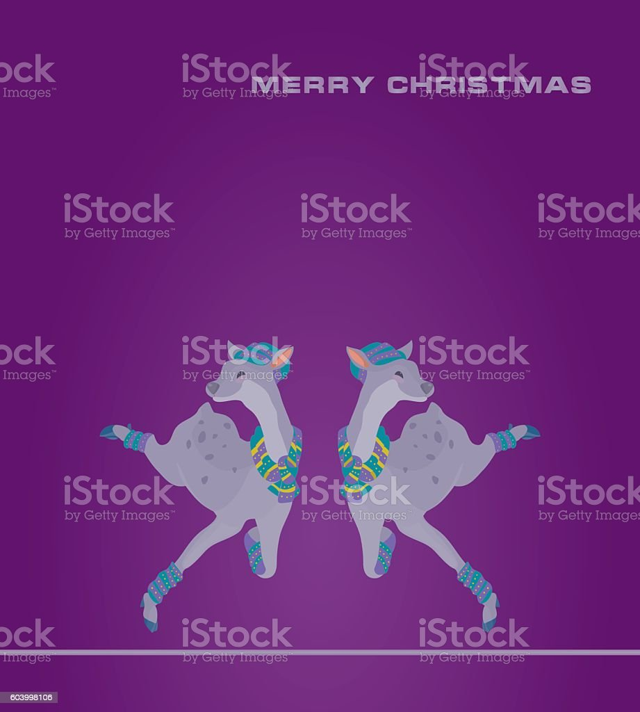 Smiling doe jump vector art illustration