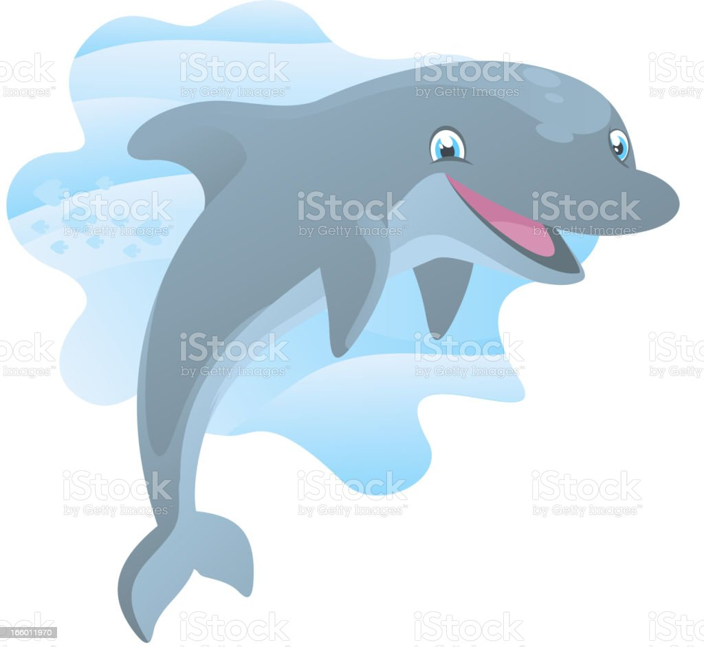 Smiling Dolphin happily jumping out of the water royalty-free stock vector art