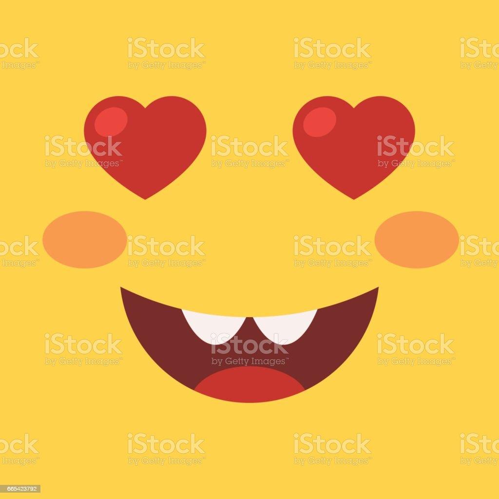 Smiling emoji with hearts eyes vector art illustration