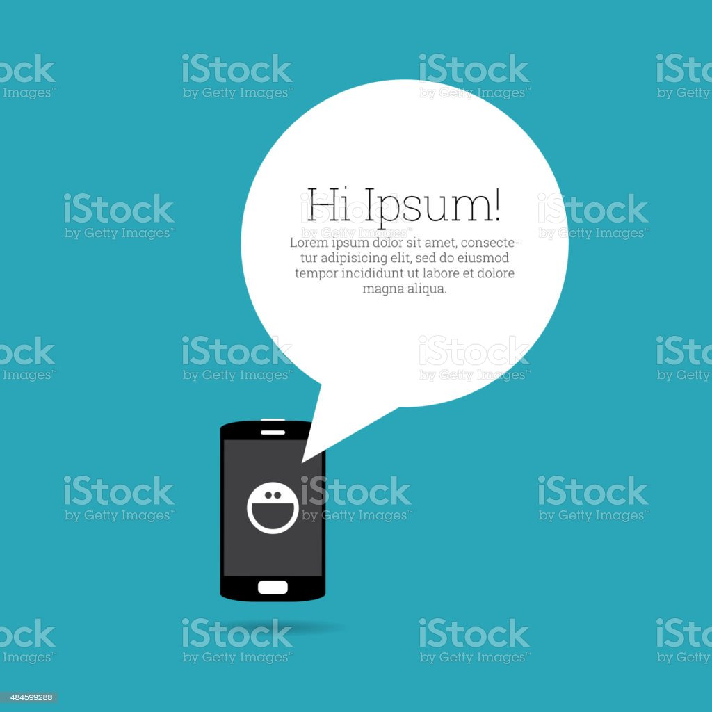 Smiling Emoticon on Phone vector art illustration