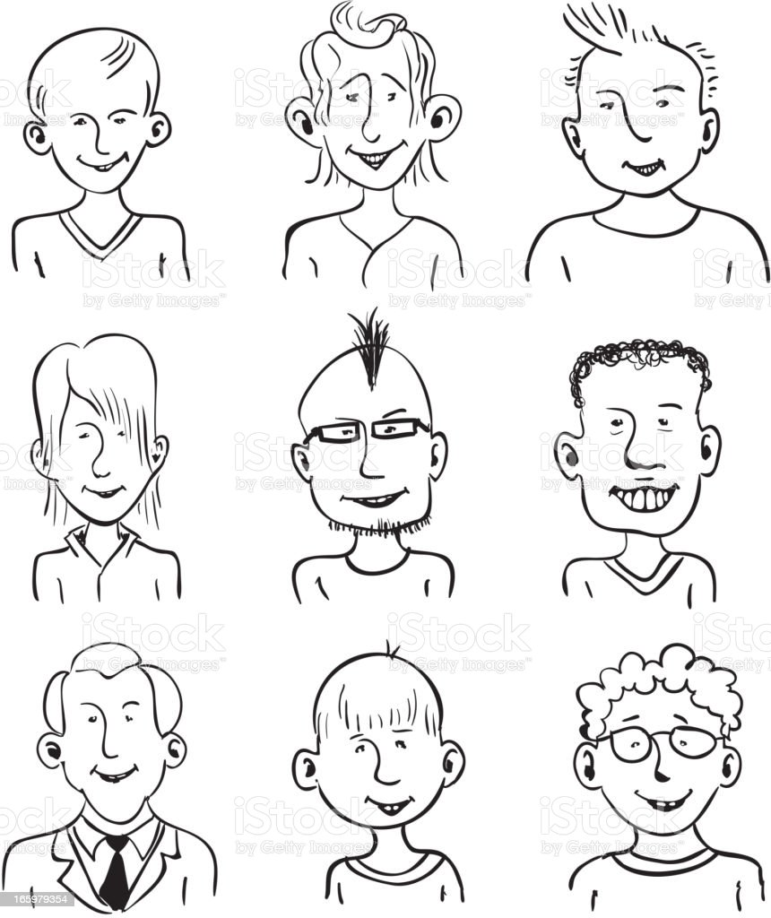 Smiling faces royalty-free stock vector art