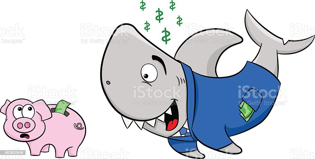 smiling financial shark and frightened piggy bank vector art illustration