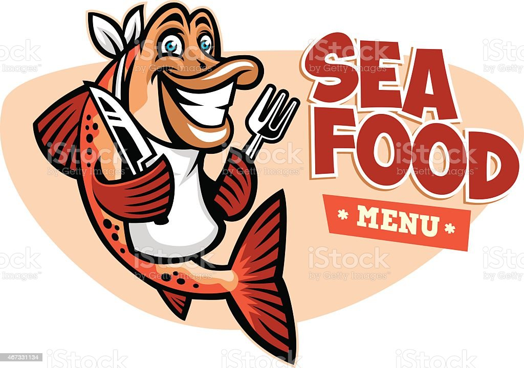 smiling fish seafood restaurant mascot vector art illustration