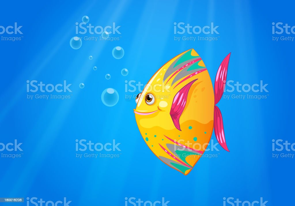 Smiling fish swimming royalty-free stock vector art