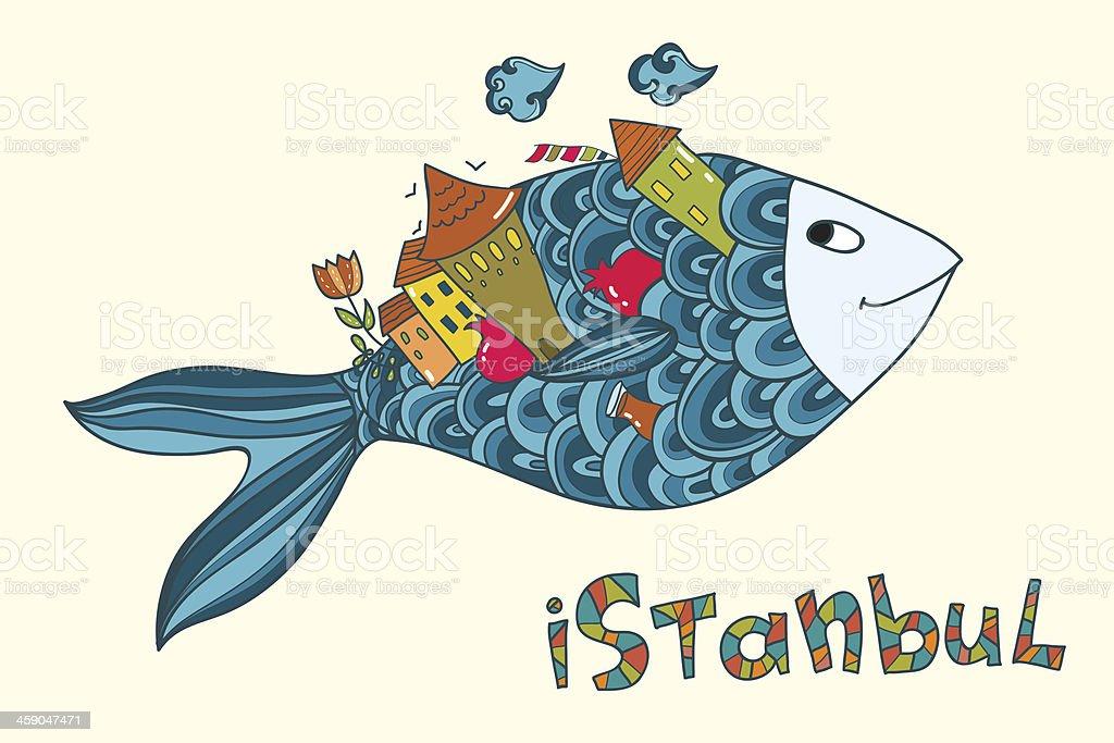 Sonriendo pescado con señal de Estambul, y a la ciudad. illustracion libre de derechos libre de derechos