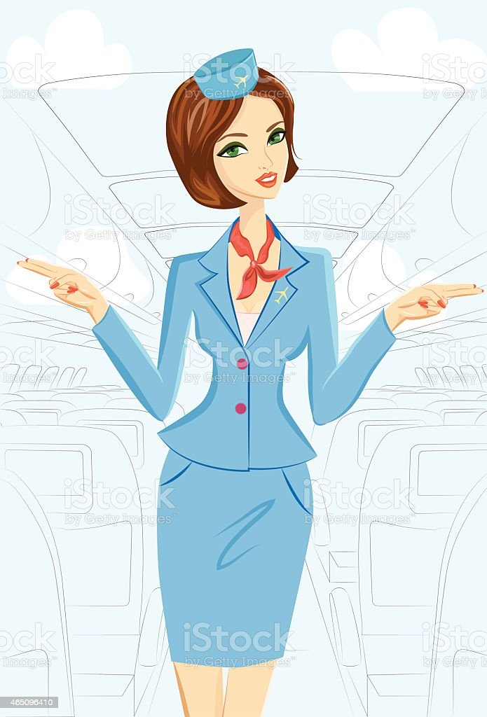 Smiling Flight Attendant On Plane vector art illustration