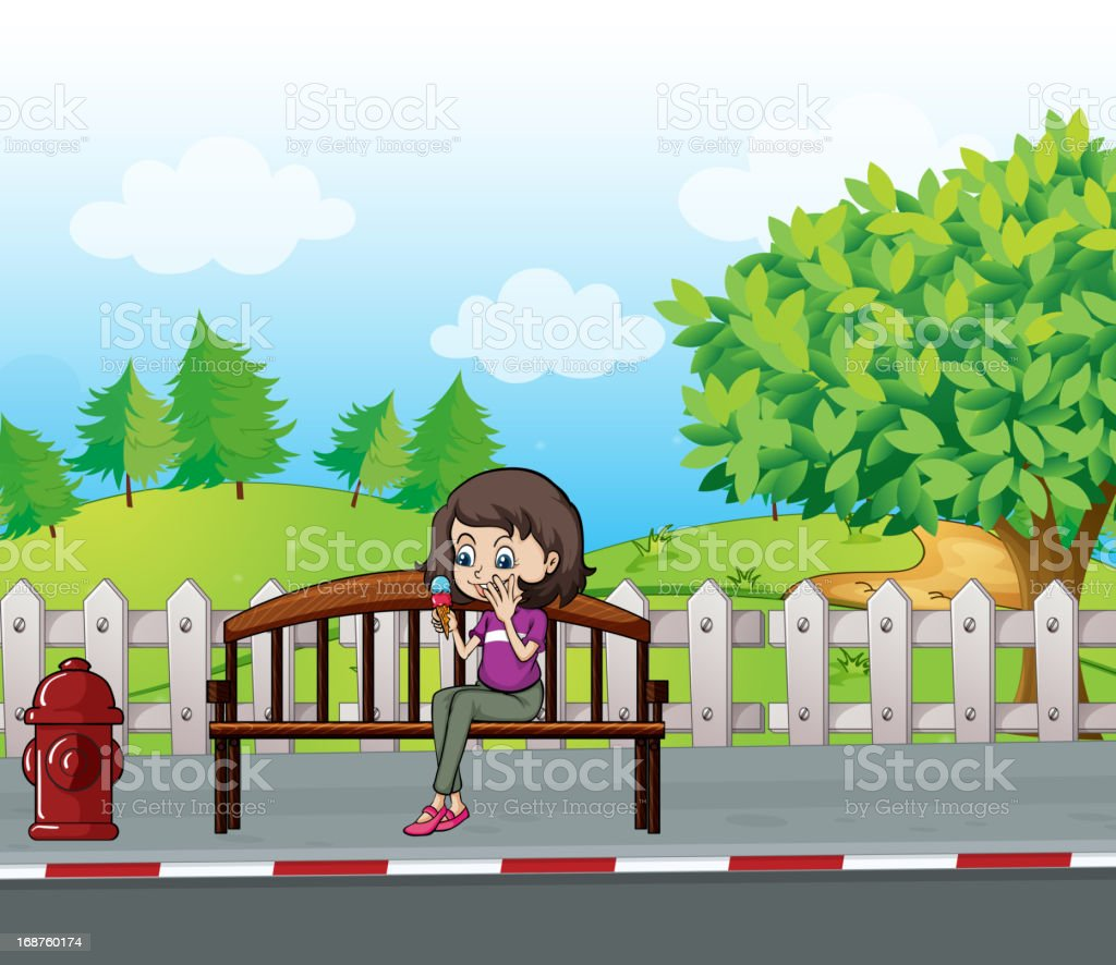Smiling girl sitting on a bench royalty-free stock vector art