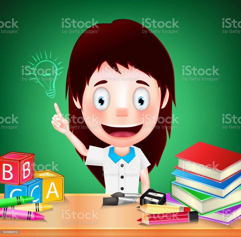 Smiling Girl Student Character with Idea on Green Background vector art illustration