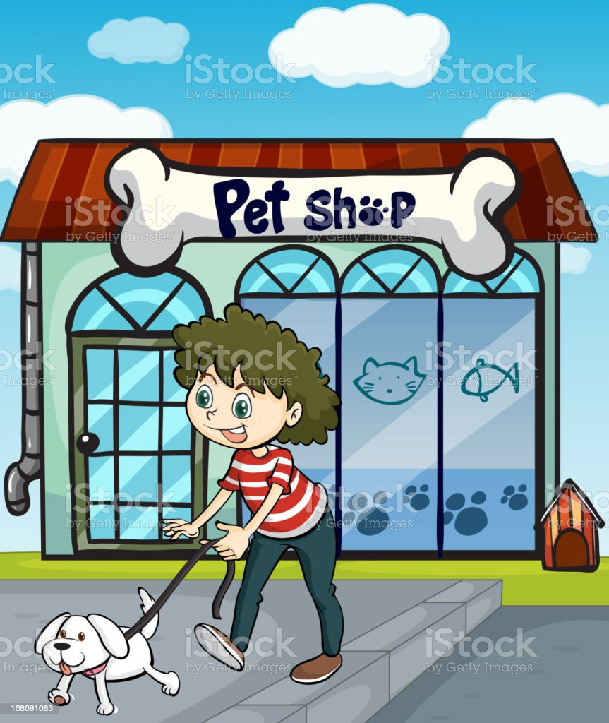 Smiling girl with dog and a pet shop royalty-free stock vector art