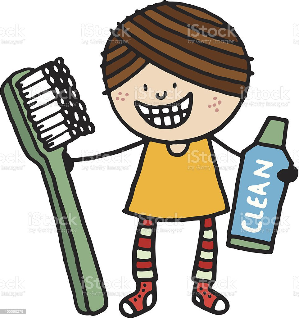 Smiling girl with toothbrush and tooth paste royalty-free stock vector art