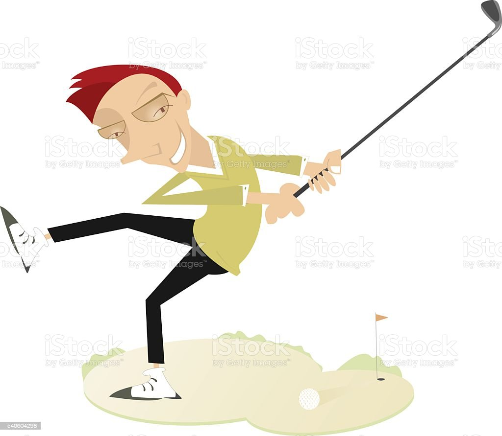 Smiling golfer vector art illustration