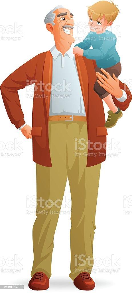 Smiling grandfather holding his grandson. Vector illustration. vector art illustration