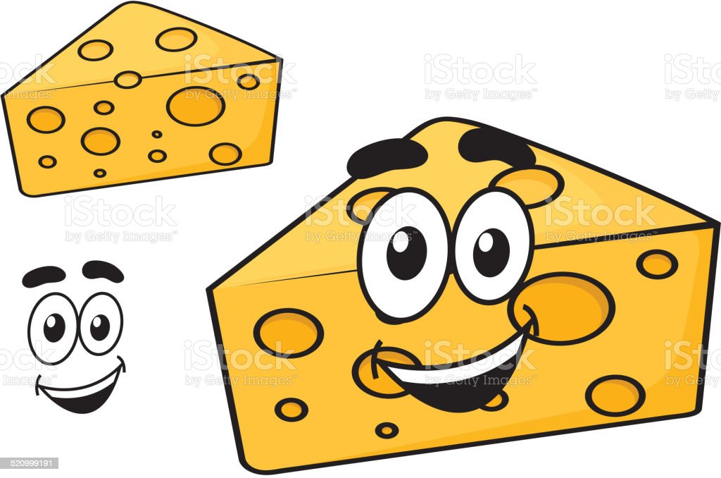 Smiling happy cartoon wedge of cheese vector art illustration
