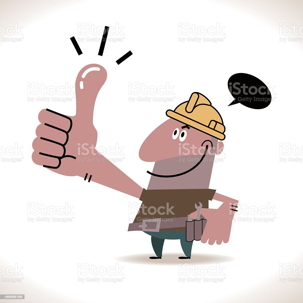 Smiling happy construction(builder) worker with thumbs up hand gesture vector art illustration
