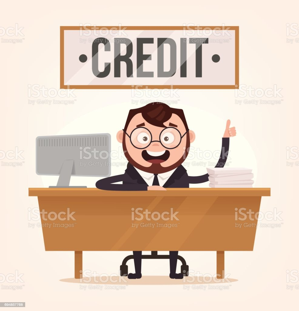Smiling happy credit manager character sitting in table desk workplace in bank office and waiting client consumer vector art illustration