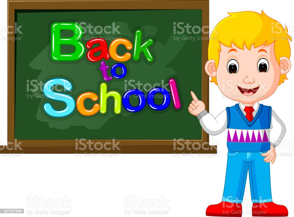 Smiling happy schoolchildren with green banner Blackboard vector art illustration