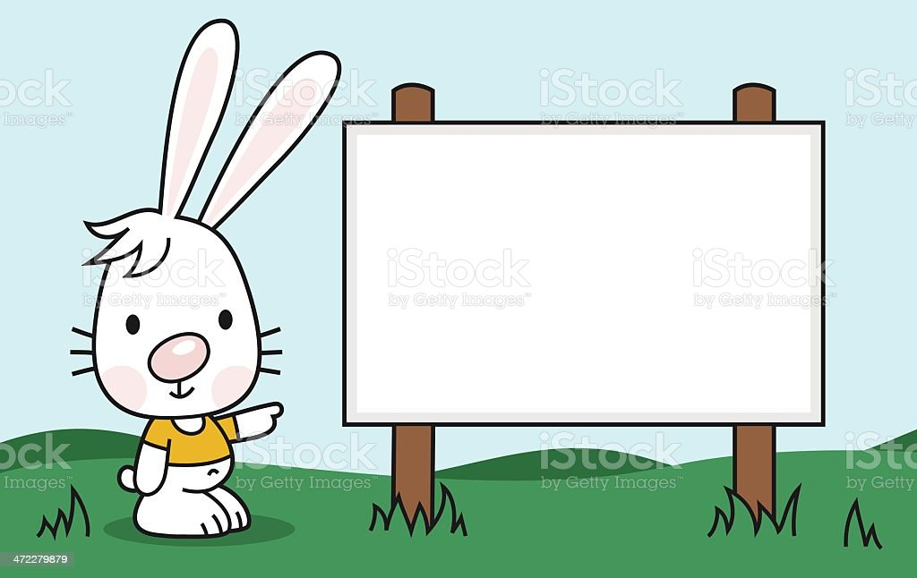 smiling hare points to a blank sign vector art illustration